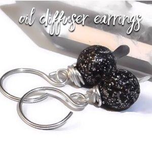 NWT! Lava Rock Oil Diffuser Sparkle 925 Earrings